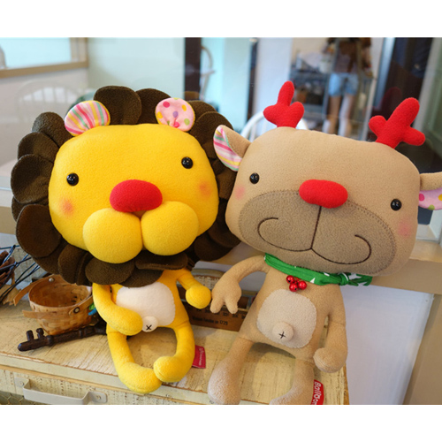 doll (L), lion & deer