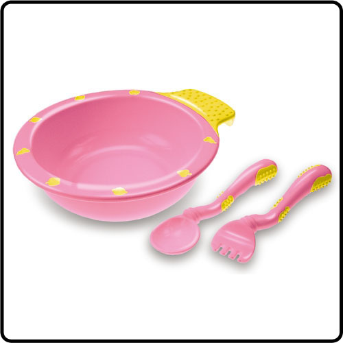Easy held soft grip feeding bowl and fork / spoon set