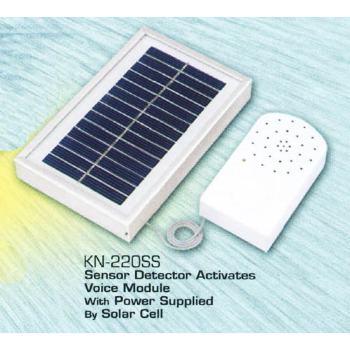 Sensor Detector Activates Voice Module with Power Supplied by Solar Cell