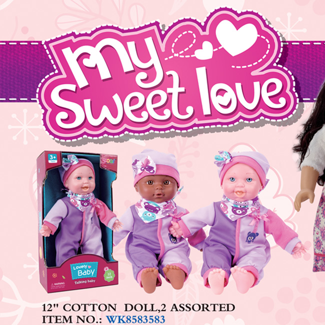 """12"""" Cotton Doll, 2 Assorted"""
