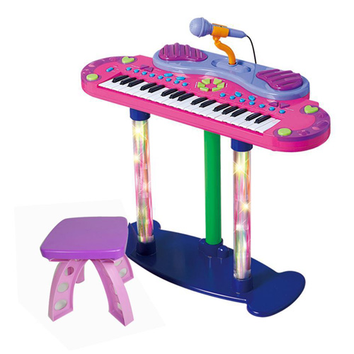 ELECTRONIC KEYBOARD WITH MIC & STOOL