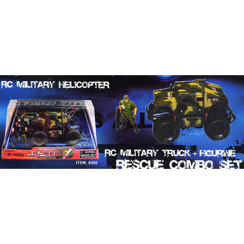 RESCUE COMBO SET: RC MILITARY TRUCK + FIGURINE
