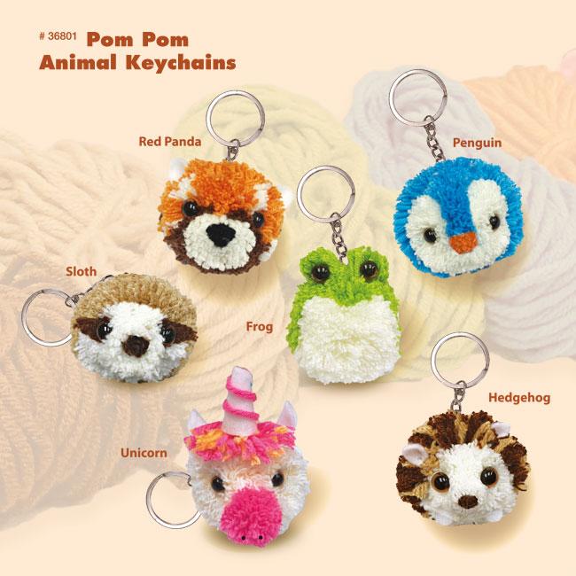 Pom Pom Animal Keychains