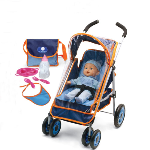 13mm pipe raincover doll stroller with 36cm doll and accessories