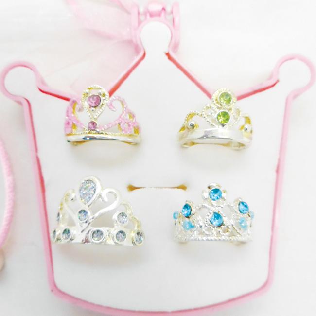 4 pcs Crwon Ring Jewelry set in crown shape box