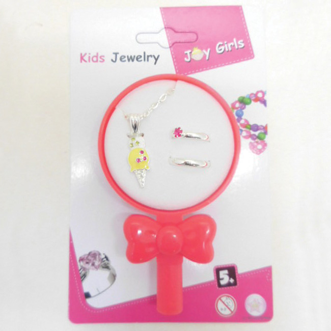 Necklace and 2 Ring Jewelry set in lollipop shape box